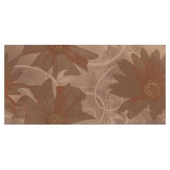 Płytka ścienna Sabro Brown inserto drukowane Kwiat 29,5x59,5 Paradyż