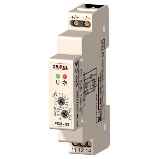 Przekaźnik czasowy cykliczne przełączanie START=OFF 24V AC/DC typ: PCM-03/24V Zamel