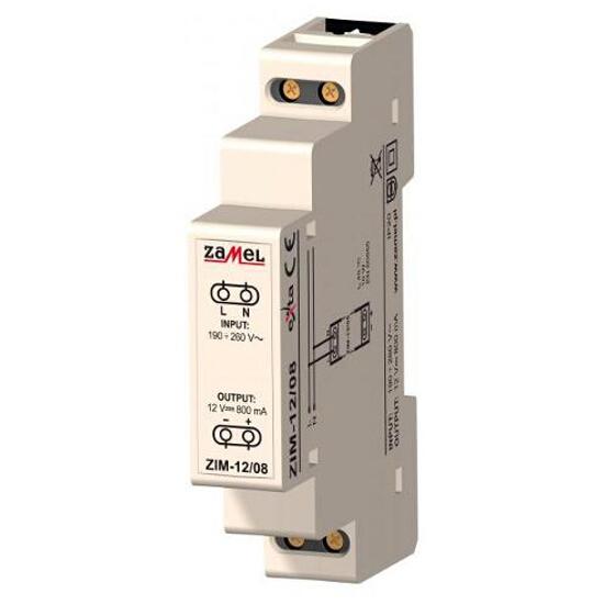 Zasilacz na szynę DIN impulsowy 230VAC/12VDC 800mA 1-modułowy typ:ZIM-12/08 Zamel