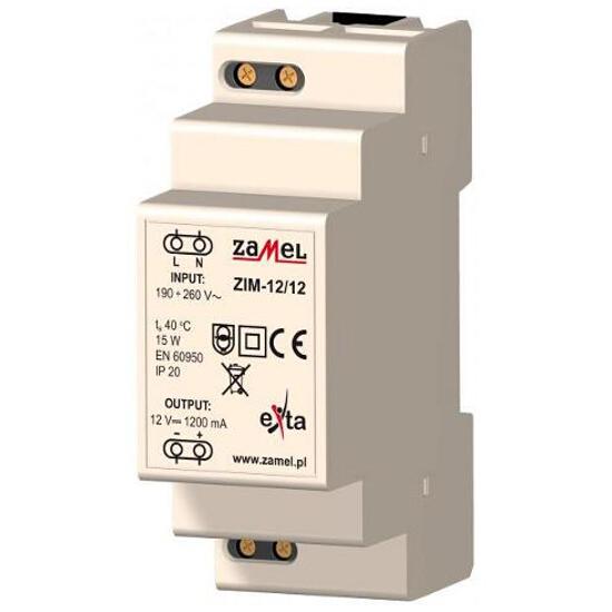 Zasilacz na szynę DIN impulsowy 230VAC/12VDC 1200mA 2-modułowy typ:ZIM-12/12 Zamel