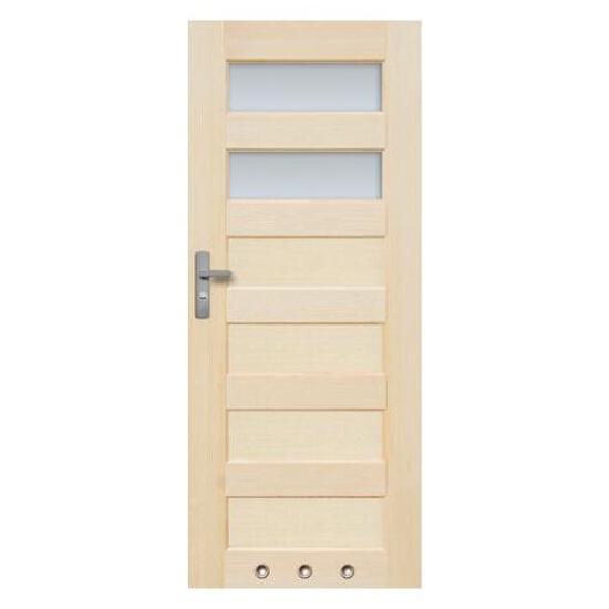 Drzwi sosnowe Manhattan przeszklone (2 szyby) z tulejami 60 lewe Radex