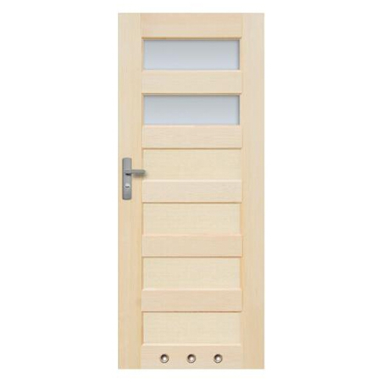 Drzwi sosnowe Manhattan przeszklone (2 szyby) z tulejami 80 lewe Radex