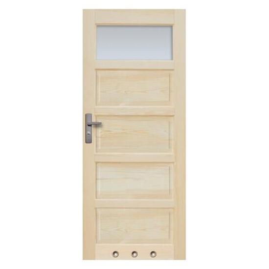 Drzwi sosnowe Sevilla przeszklone (1 szyba) z tulejami 70 prawe Radex