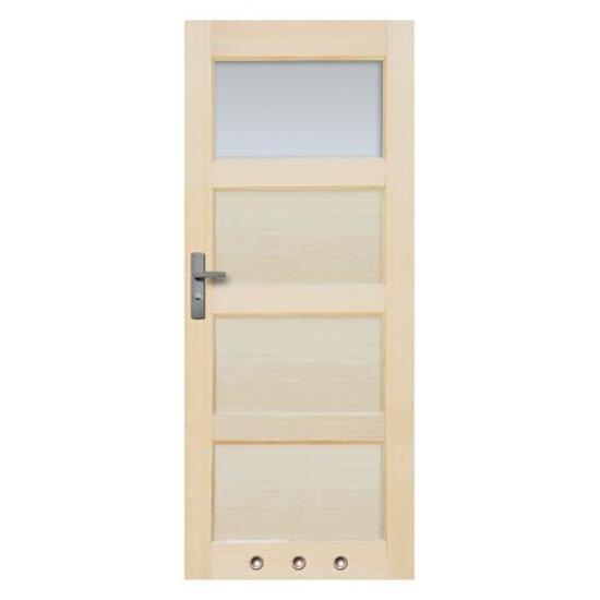 Drzwi sosnowe Obsydian przeszklone (1 szyba) z tulejami 70 lewe Radex