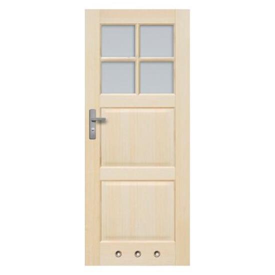 Drzwi sosnowe Turyn przeszklone (4 szyby) z tulejami 70 lewe Radex