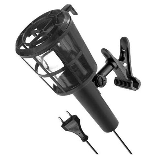 Lampa warsztatowa z kablem PLASTIC Z KLIPSEM 60W E27 230V czarna Lena Lighting