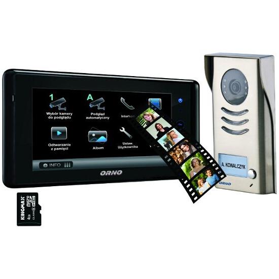 """Videodomofon 2 żyłowy kolorowy LCD 7"""" z pamięcią i czytnikiem kart SD OR-VID-DT-1015 Orno"""