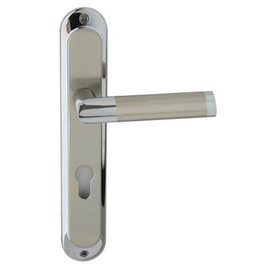 Klamka drzwiowa JARO szyld długi wkładka bębenkowa chrom/nikiel Domino