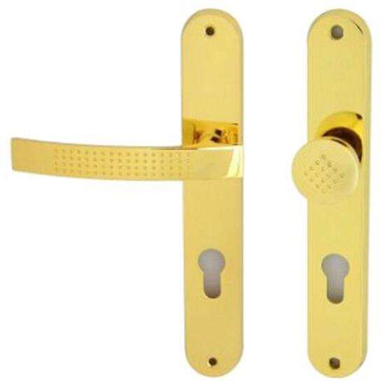 Klamka drzwiowa z gałką ALMA szyld długi wkładka bębenkowa mosiądz lakierowany lewa Domino