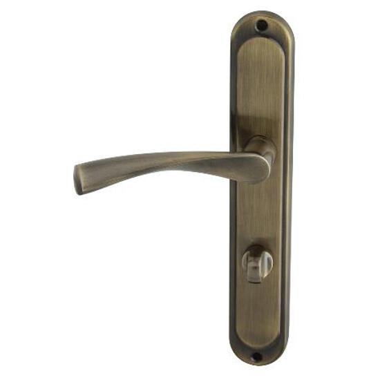 Klamka drzwiowa ROMANA szyld długi WC brąz grafiatto Domino