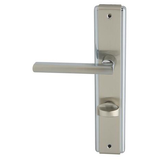 Klamka drzwiowa JANE szyld długi WC chrom/nikiel lakierowany lewa Domino