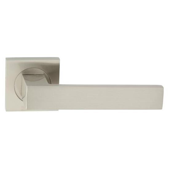 Klamka drzwiowa QUBIK-QR szyld dzielony kwadratowy nikiel lakierowany Domino