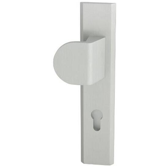 Klamka drzwiowa zewn. z pochwytem NOTE szyld długi wkładka 72mm srebrny mat lewa klasa I AXA