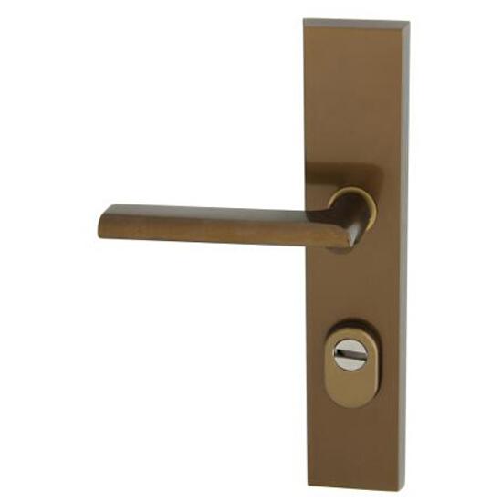 Klamka drzwiowa zewn. NOTE szyld długi wkładka 92mm brąz mat lewa klasa III z zab.cyl. AXA