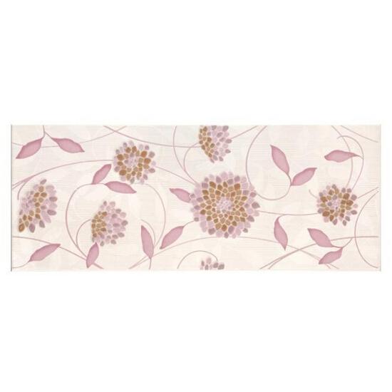Płytka ścienna Synthia viola inserto kwiatek 20x50 Cersanit