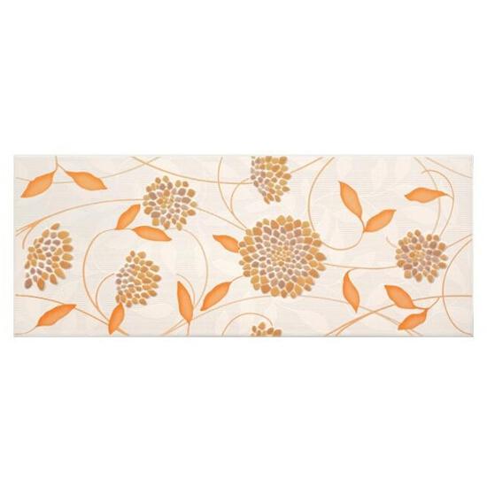 Płytka ścienna SYNTHIA pomarańczowa inserto kwiaty błyszcząca 20x50 gat. I