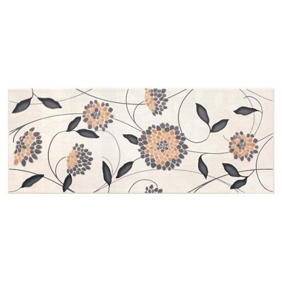 Płytka ścienna Synthia nero inserto kwiatek 20x50 Cersanit