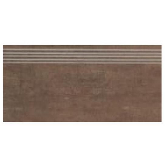 Gres Tandori Brown stopnica nacinana 29,8x59,8 półpoler Paradyż