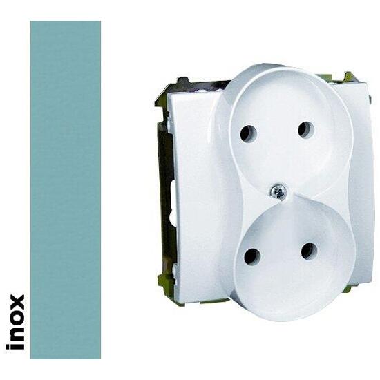 Gniazdo ścienne modułowe Basic podwójne b/u BMG2M.01/21 inox Kontakt Simon