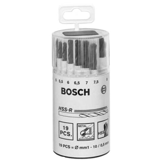 Zestaw wierteł do metalu HSS-R, DIN 338 1-10mm 19szt. 2607018355 Bosch