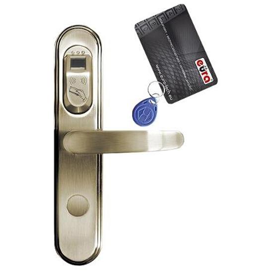 Klamka drzwiowa szyld długi do zamka elektromech. ELH-50B9 Brass czytnik kart RF ID Eura-Tech