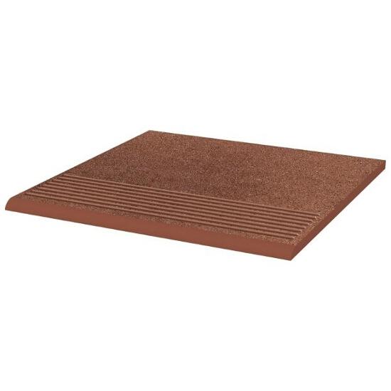 Klinkier Taurus Brown stopnica ryflowana prosta strukturalna 30x30 Paradyż