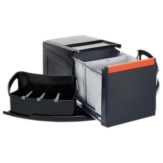 Sortownik do odpadów Cube narożny wysuwany ręcznie pojemnik 2x18L 134.0055.286 Franke