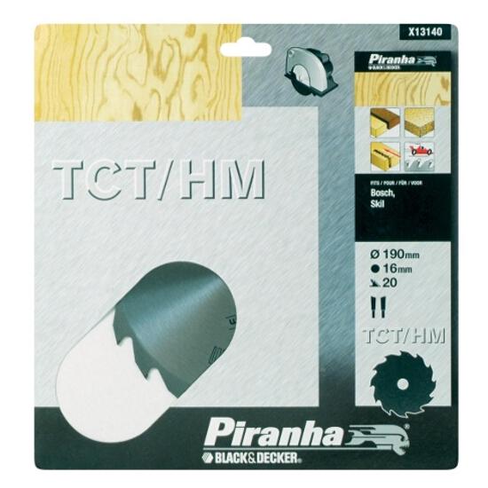 Piła tarczowa 190x16x20 z węglikiem TCT/HM Piranha