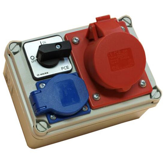Koło Rozdzielnia wyposażona wejście Pg16 wyłącznik 16A 0-1 wyjście 16/5 GS PCE