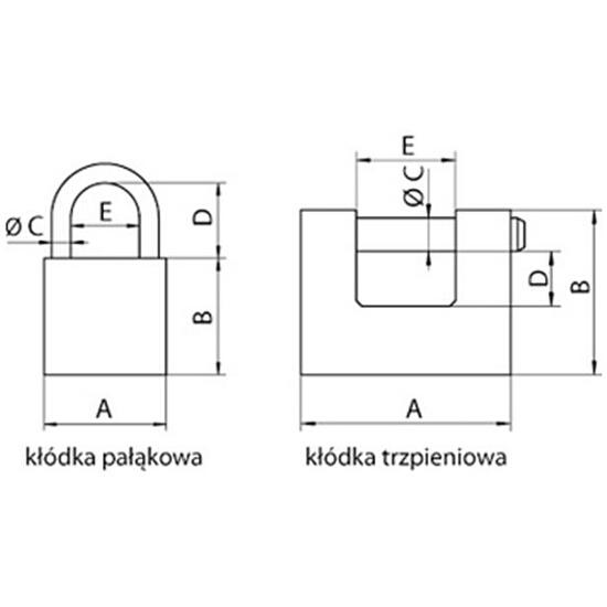 Kłódka pałąkowa 60mm TG-PL60 Bayersystem