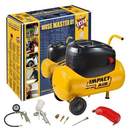 Kompresor elektryczny bezolejowy 24l bezolejowy Master Kit