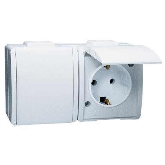 Gniazdo natynkowe Protector z/u Schuko podwójne IP44 PGSZ1-2/11 biały Kontakt Simon