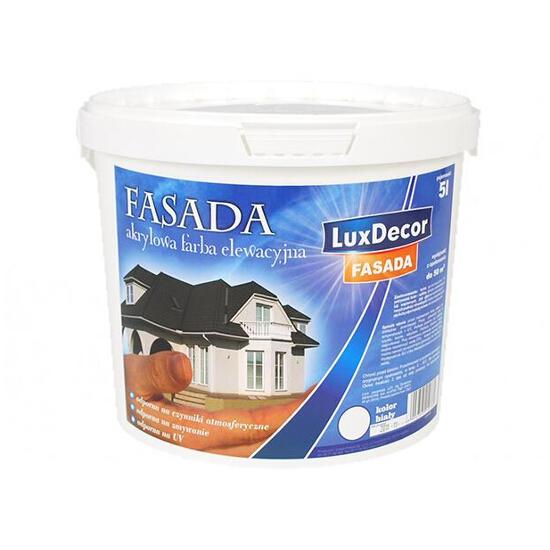 Farba zewnętrzna FASADA akrylowa 10l, biała LUXDECOR
