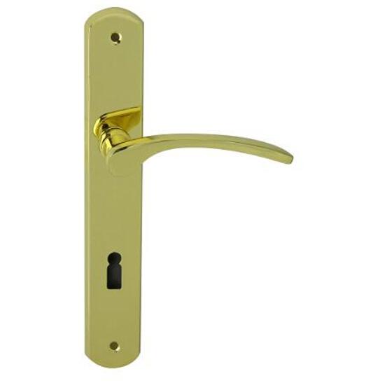 Klamka drzwiowa EMMA szyld długi klucz mosiądz lakierowany Domino