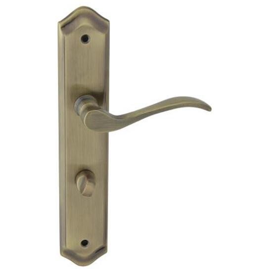 Klamka drzwiowa ATENA szyld długi WC brąz grafiatto prawa Domino