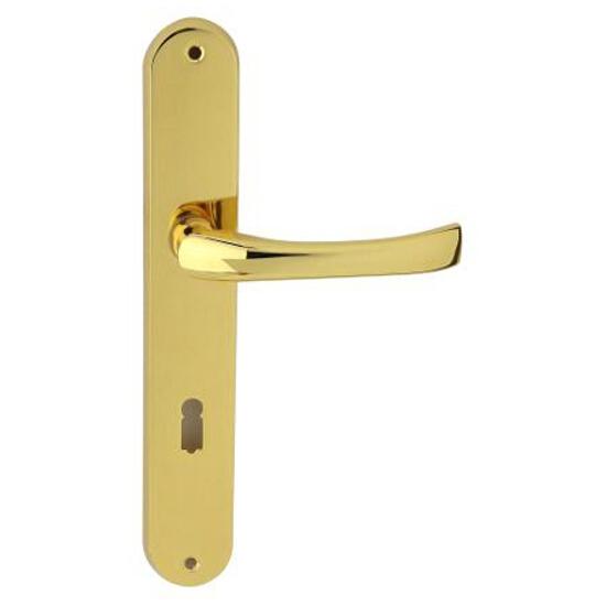 Klamka drzwiowa TINA szyld długi klucz mosiądz lakierowany Domino