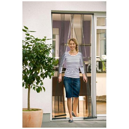 Moskitiera drzwiowa Comfort Lamella mocowana na rzep 2x0,95x2,2m czarna Tesa Tape
