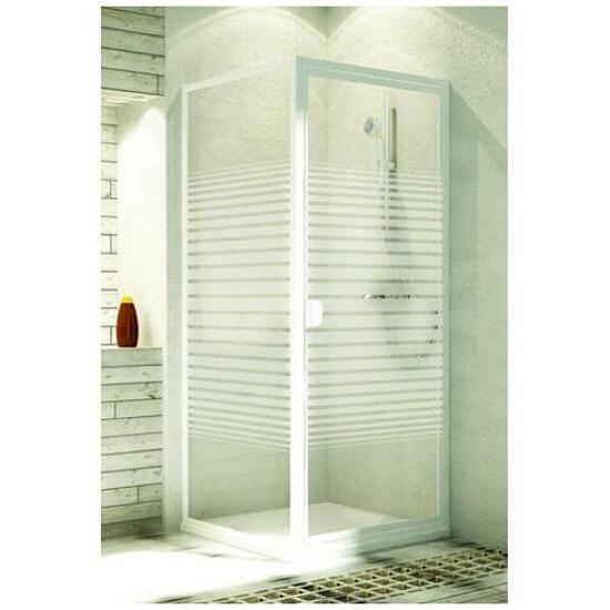 Ścianka prysznicowa boczna ELBA 90 profil biały, szkło wzór paski 103-26584 Aquaform