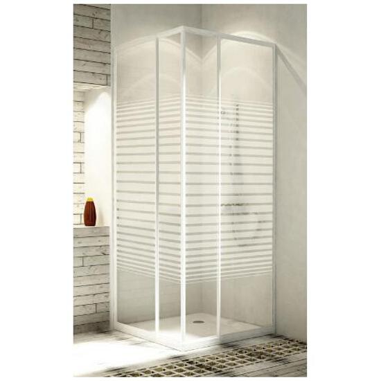 Kabina prysznicowa kwadratowa VARIABEL 80-90 profil biały, szkło wzór pasy 101-26951 Aquaform