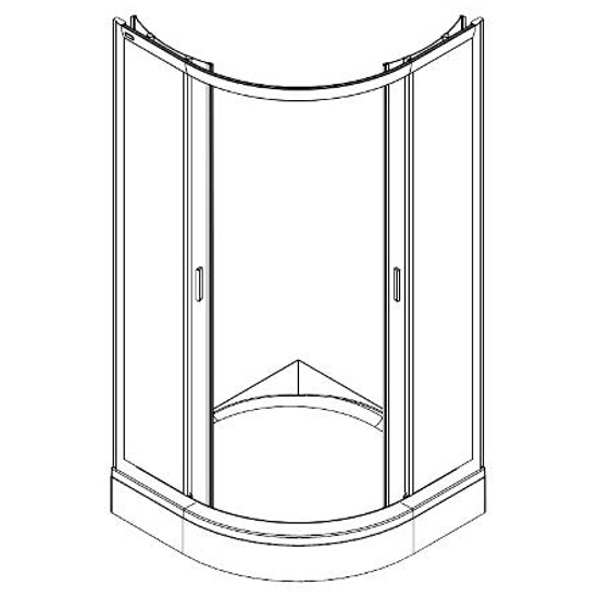 Kabina prysznicowa półokrągła FRESH SOFT 90x90cm szkło hartowane w paski DKPG90212000 Koło