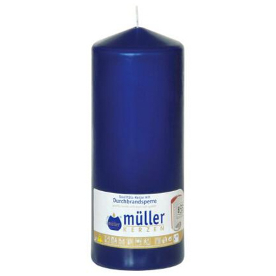 Świeca walec 200x80mm kolor indigo Muller