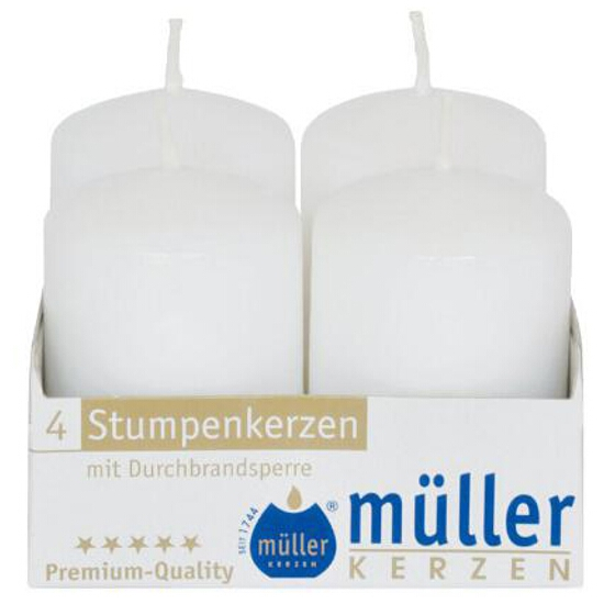 Świeca walec 62x40mm kpl 4szt kolor biały Muller
