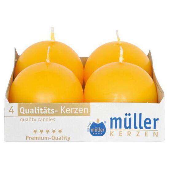 Świeca kula 60mm kpl 4szt kolor żółty Muller