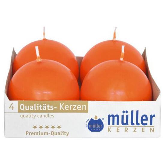 Świeca kula 60mm kpl 4szt kolor mandarynka Muller