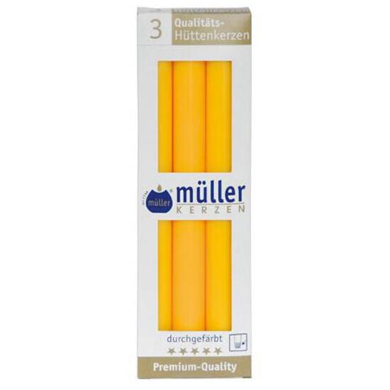 Świeca świecznikowa 250mm kpl 3szt kolor żółty Muller