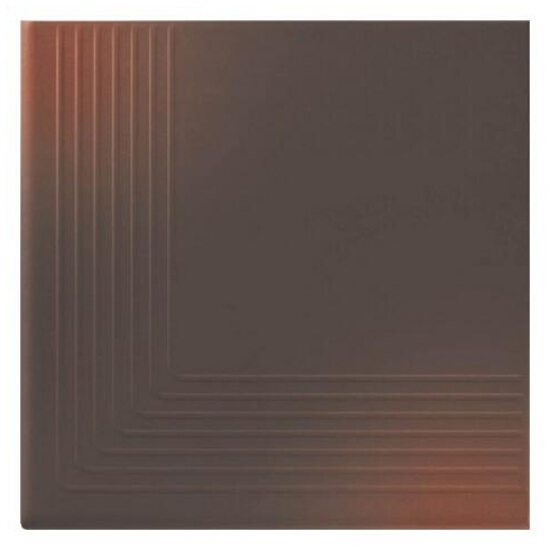 Klinkier Shadow brown stopień narożny 30x30