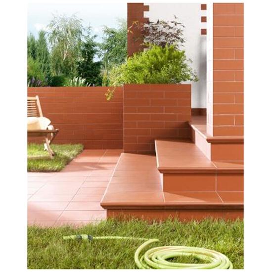Klinkier Simple red cokół schodowy lewy strukturalny 3-d 30x8