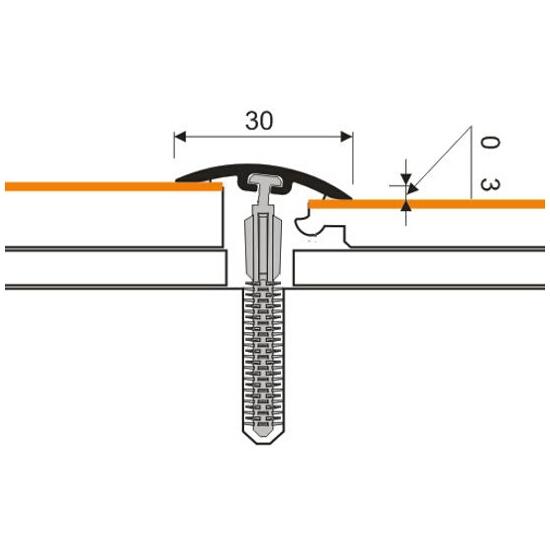 Listwa dylatacyjna 30mm PVC dąb 3E dł. 1m D-P0300-3E-100 Myck