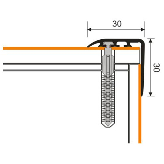 Listwa schodowa 30x30 PVC mahoń 7E dł. 1m D-K0200-7E-100 Myck