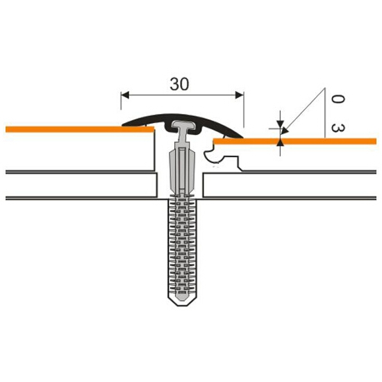 Listwa dylatacyjna 30mm PVC orzech 9E dł. 2m D-P0300-9E-200 Myck